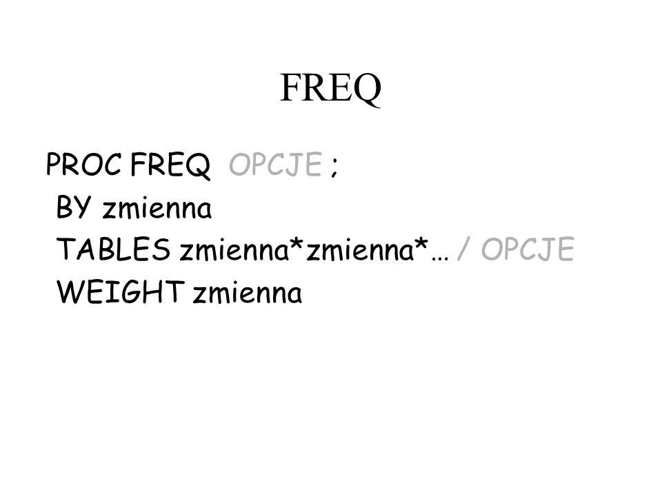 FREQ PROC FREQ OPCJE ; BY zmienna TABLES zmienna*zmienna*… / OPCJE WEIGHT zmienna