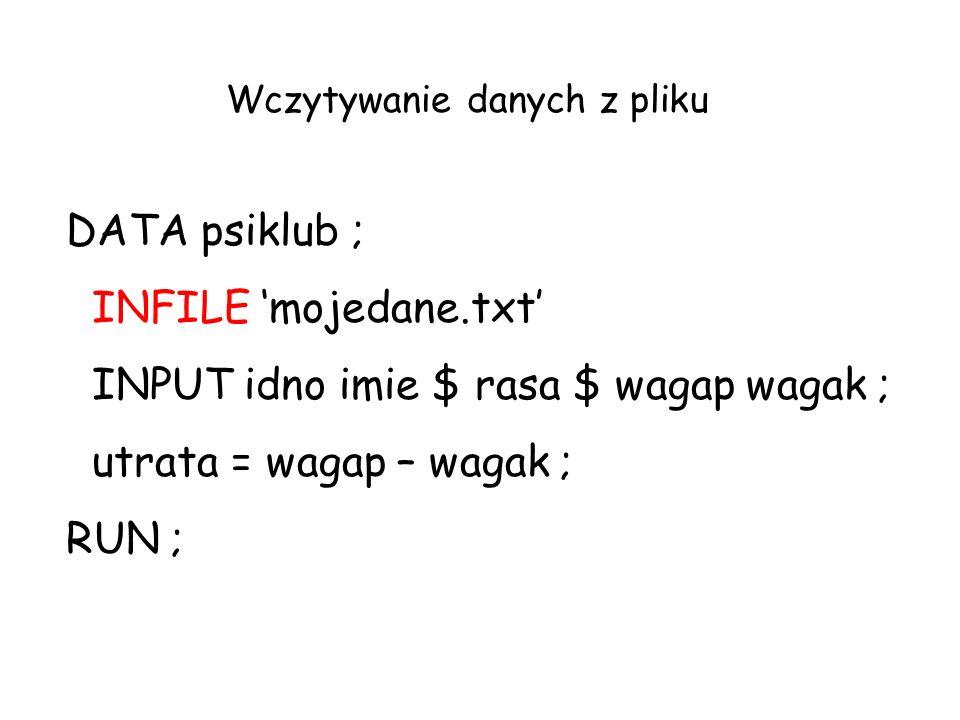 DATA psiklub ; INFILE mojedane.txt INPUT idno imie $ rasa $ wagap wagak ; utrata = wagap – wagak ; RUN ; Wczytywanie danych z pliku