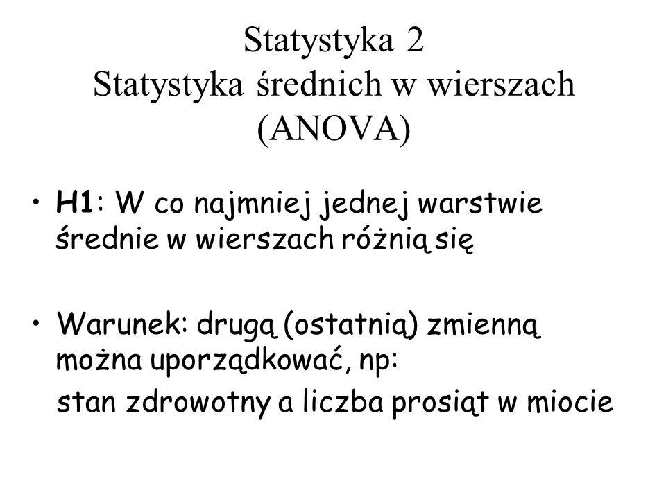 Statystyka 2 Statystyka średnich w wierszach (ANOVA) H1: W co najmniej jednej warstwie średnie w wierszach różnią się Warunek: drugą (ostatnią) zmienn