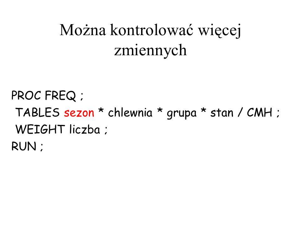 Można kontrolować więcej zmiennych PROC FREQ ; TABLES sezon * chlewnia * grupa * stan / CMH ; WEIGHT liczba ; RUN ;