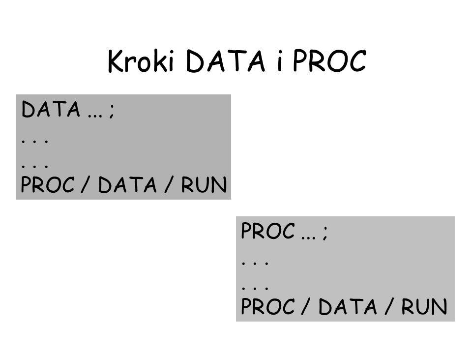 DATA... ;... PROC / DATA / RUN PROC... ;... PROC / DATA / RUN Kroki DATA i PROC