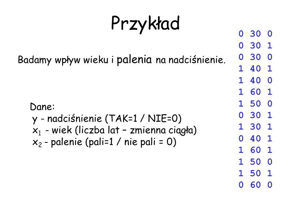 Przykład Badamy wpływ wieku i palenia na nadciśnienie. Dane: y - nadciśnienie (TAK=1 / NIE=0) x 1 - wiek (liczba lat – zmienna ciągła) x 2 - palenie (