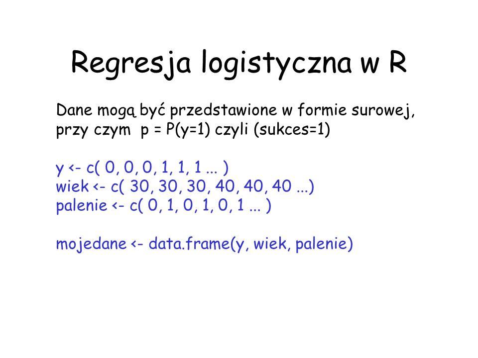 Regresja logistyczna w R Dane mogą być przedstawione w formie surowej, przy czym p = P(y=1) czyli (sukces=1) y <- c( 0, 0, 0, 1, 1, 1... ) wiek <- c(