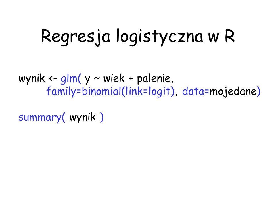 Regresja logistyczna w R wynik <- glm( y ~ wiek + palenie, family=binomial(link=logit), data=mojedane) summary( wynik )
