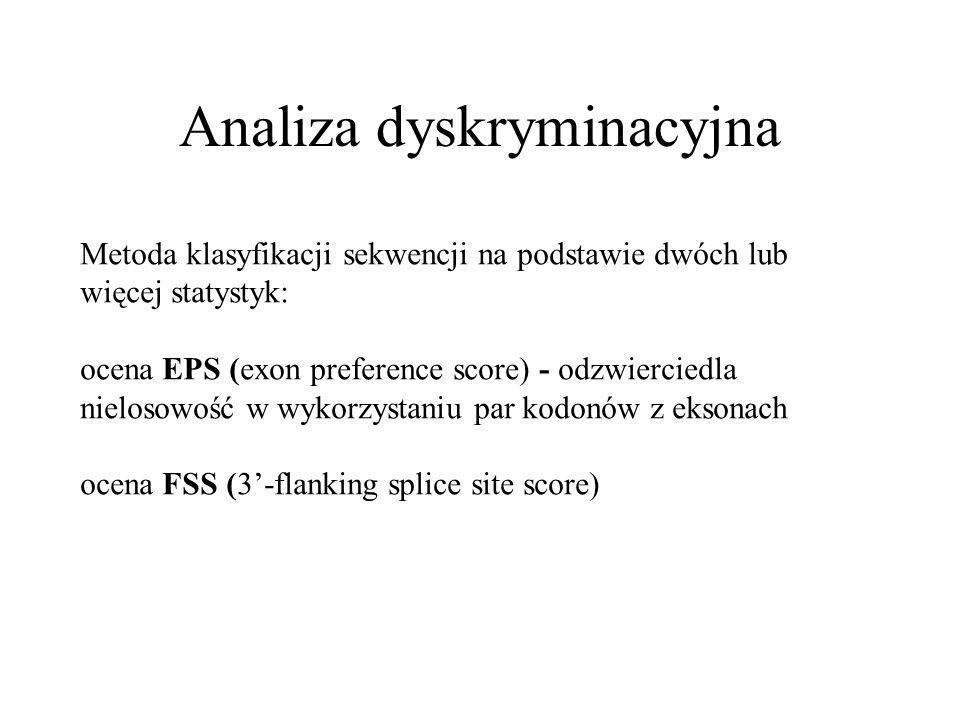 Analiza dyskryminacyjna Metoda klasyfikacji sekwencji na podstawie dwóch lub więcej statystyk: ocena EPS (exon preference score) - odzwierciedla nielosowość w wykorzystaniu par kodonów z eksonach ocena FSS (3-flanking splice site score)