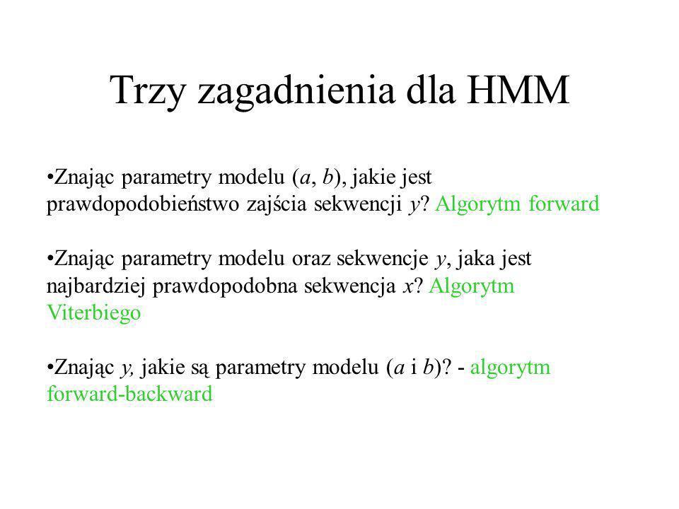 Trzy zagadnienia dla HMM Znając parametry modelu (a, b), jakie jest prawdopodobieństwo zajścia sekwencji y? Algorytm forward Znając parametry modelu o