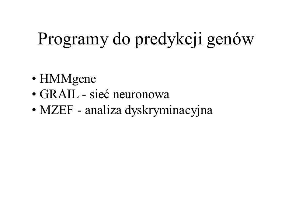 Programy do predykcji genów HMMgene GRAIL - sieć neuronowa MZEF - analiza dyskryminacyjna