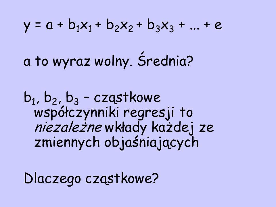 y = a + b 1 x 1 + b 2 x 2 + b 3 x 3 +... + e a to wyraz wolny. Średnia? b 1, b 2, b 3 – cząstkowe współczynniki regresji to niezależne wkłady każdej z