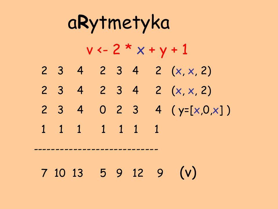 v <- 2 * x + y + 1 2 3 4 2 3 4 2 (x, x, 2) 2 3 4 0 2 3 4 ( y=[x,0,x] ) 1 1 1 1 1 1 1 ---------------------------- 7 10 13 5 9 12 9 (v) aRytmetyka