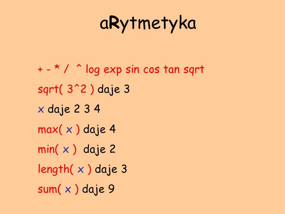 + - * / ^ log exp sin cos tan sqrt sqrt( 3^2 ) daje 3 x daje 2 3 4 max( x ) daje 4 min( x ) daje 2 length( x ) daje 3 sum( x ) daje 9