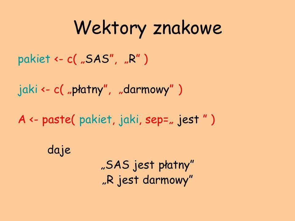 Wektory znakowe pakiet <- c( SAS, R ) jaki <- c( płatny, darmowy ) A <- paste( pakiet, jaki, sep= jest ) daje SAS jest płatny R jest darmowy