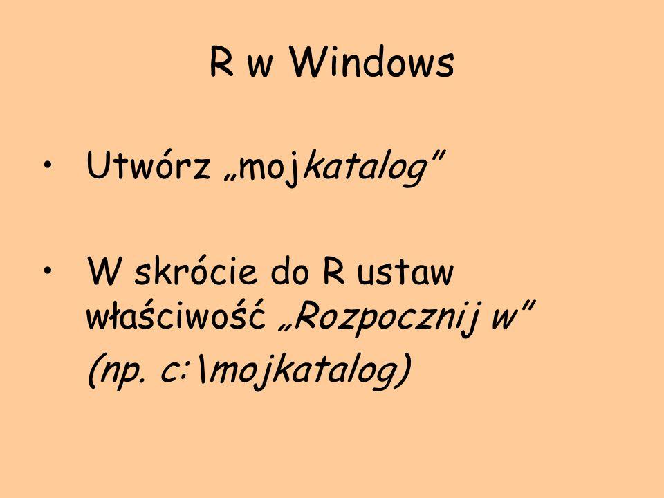 Pomoc w R help( table ) lub ?table help.start( ) – odpala przeglądarkę i wyświetla pomoc w postaci strony html help.search – poszukiwanie pomocy na różne sposoby example( temat ) – wyświetla przykład dla danego tematu
