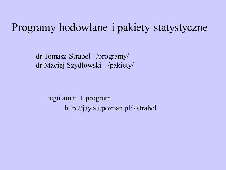 Programy hodowlane i pakiety statystyczne dr Tomasz Strabel /programy/ dr Maciej Szydłowski /pakiety/ http://jay.au.poznan.pl/~strabel regulamin + pro