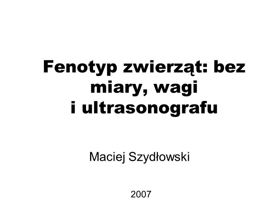 Fenotyp zwierząt: bez miary, wagi i ultrasonografu Maciej Szydłowski 2007
