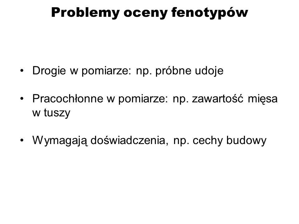 Problemy oceny fenotypów – c.d.