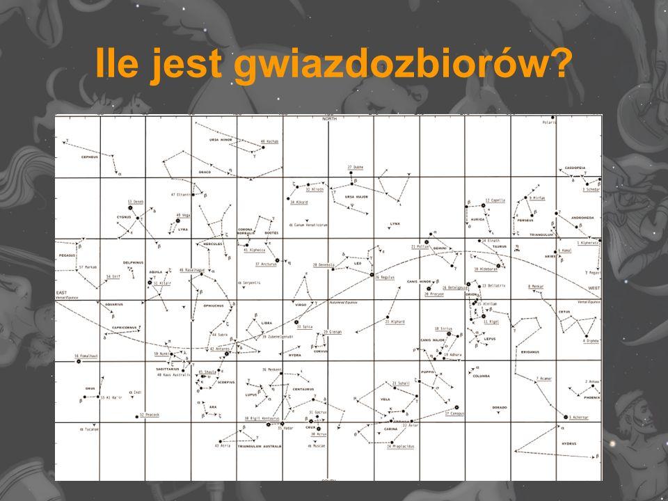 Gwiazdozbiory okołobiegunowe północne (dla Polski) CefeuszCefeusz, Kasjopeja, Mała Niedźwiedzica, Smok, Wielka Niedźwiedzica, Żyrafa.KasjopejaMała NiedźwiedzicaSmokWielka Niedźwiedzica Żyrafa Gwiazdozbiory zimowe BliźniętaBliźnięta, Byk, Cyrkiel, Gołąb, Jednorożec, Malarz, Mały Pies, Orion, Pompa, Rak, Rufa, Ryś, Wielki Pies, Woźnica, Zając.BykCyrkielGołąbJednorożecMalarzMały PiesOrion PompaRakRufaRyśWielki PiesWoźnicaZając Gwiazdozbiory wiosenne CentaurCentaur, Hydra, Kruk, Kompas, Korona Północna, Lew, Mały Lew, Panna, Psy Gończe, Puchar, Sekstant, Skorpion, Waga, Warkocz Bereniki, Węgielnica, Wilk, Wolarz, Żagiel.HydraKrukKompasKorona PółnocnaLewMały Lew PannaPsy GończePucharSekstantSkorpionWagaWarkocz BerenikiWęgielnicaWilkWolarzŻagiel Gwiazdozbiory letnie DelfinDelfin, Herkules, Indianin, Jaszczurka, Korona Południowa, Koziorożec, Lisek, Lutnia, Luneta, Łabędź, Mikroskop, Ołtarz, Orzeł, Ryba Południowa, Strzała, Strzelec, Tarcza, Wąż, Wężownik, Wodnik, Żuraw, Źrebię.HerkulesIndianinJaszczurkaKorona PołudniowaKoziorożec LisekLutniaLunetaŁabędźMikroskopOłtarzOrzełRyba PołudniowaStrzałaStrzelecTarczaWążWężownikWodnik ŻurawŹrebię Gwiazdozbiory jesienne AndromedaAndromeda, Baran, Erydan, Feniks, Pegaz, Perseusz, Piec, Ryby, Rzeźbiarz, Trójkąt, Wieloryb, Zegar.BaranErydanFeniksPegazPerseuszPiecRyby RzeźbiarzTrójkątWielorybZegar Gwiazdozbiory okołobiegunowe południowe (dla Polski) Góra StołowaGóra Stołowa, Kameleon, Kil, Krzyż Południa, Ryba Latająca, Mucha, Oktant, Paw, Rajski Ptak, Rylec, Sieć, Trójkąt Południowy, Tukan, Wąż Wodny, Złota Ryba.KameleonKilKrzyż PołudniaRyba LatającaMucha OktantPawRajski PtakRylecSiećTrójkąt PołudniowyTukan Wąż WodnyZłota Ryba
