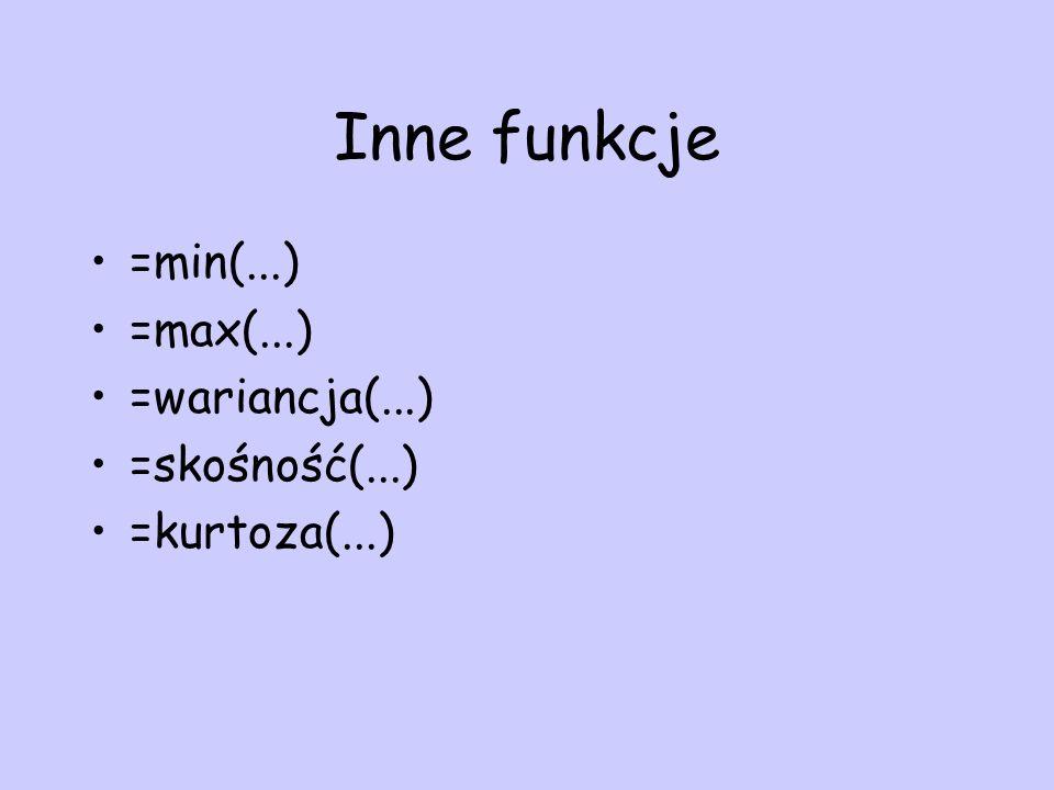 Inne funkcje =min(...) =max(...) =wariancja(...) =skośność(...) =kurtoza(...)