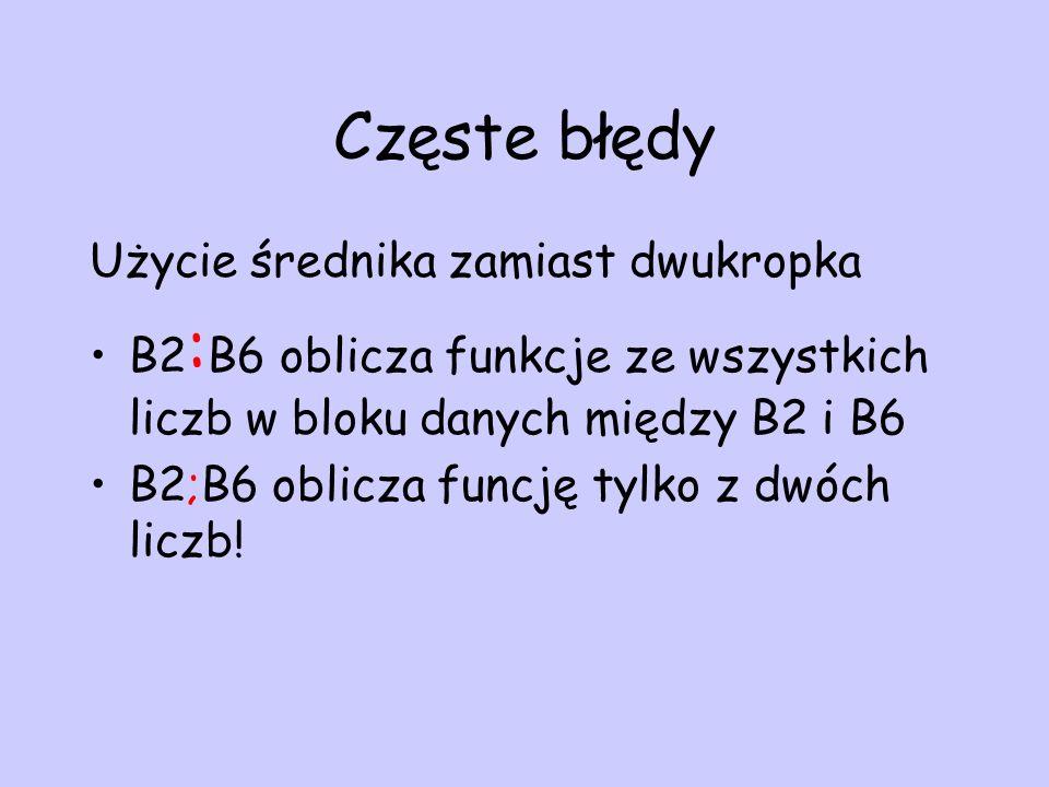 Częste błędy Użycie średnika zamiast dwukropka B2 : B6 oblicza funkcje ze wszystkich liczb w bloku danych między B2 i B6 B2;B6 oblicza funcję tylko z