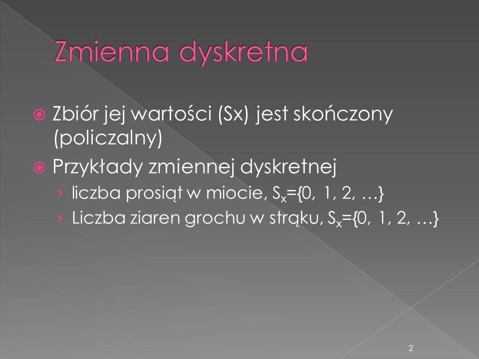 Stopień spłaszczenia krzywej rozkładu K=3rozkład normalny K>3wyciągnięta krzywa K<3spłaszczona krzywa 13