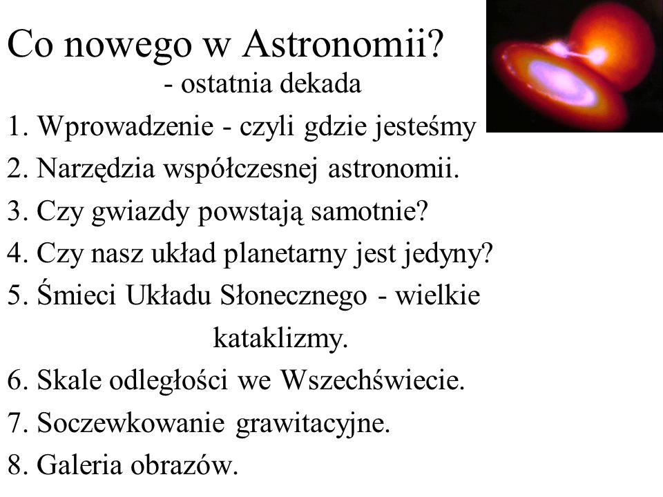 Co nowego w Astronomii? - ostatnia dekada 1. Wprowadzenie - czyli gdzie jesteśmy 2. Narzędzia współczesnej astronomii. 3. Czy gwiazdy powstają samotni