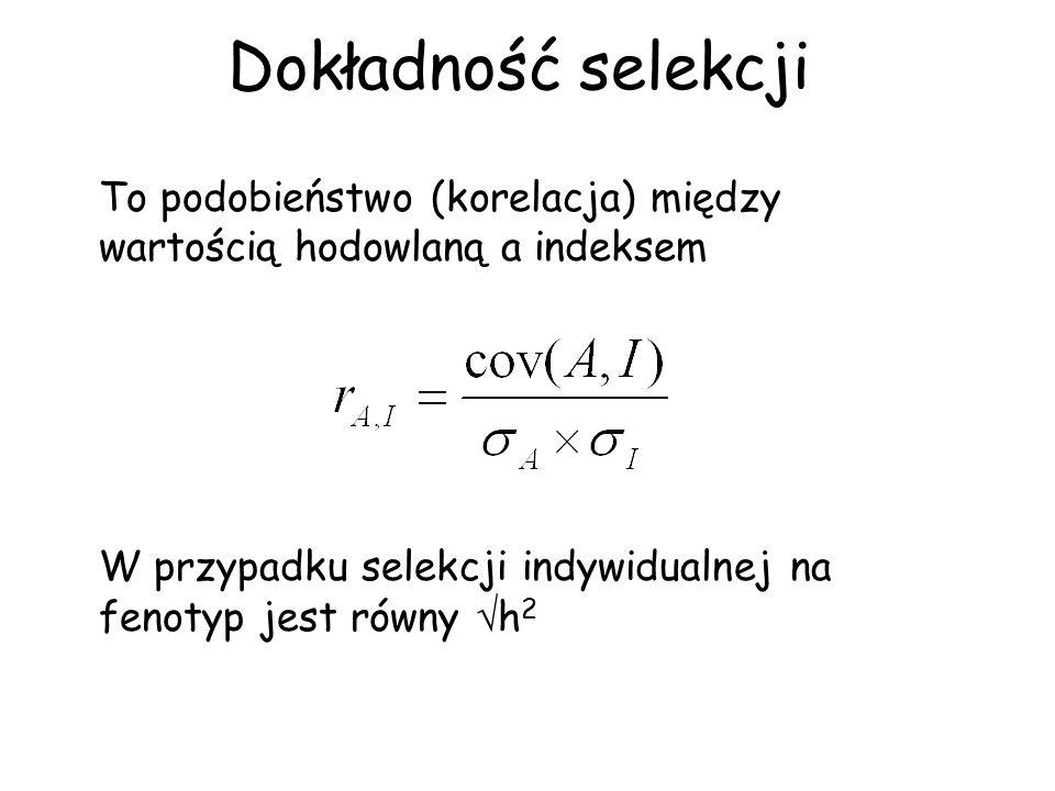 Dokładność selekcji To podobieństwo (korelacja) między wartością hodowlaną a indeksem W przypadku selekcji indywidualnej na fenotyp jest równy h 2