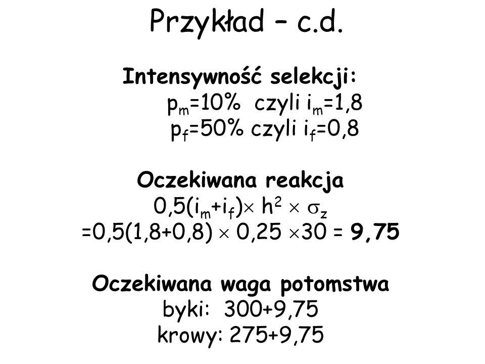 Przykład – c.d. Intensywność selekcji: p m =10% czyli i m =1,8 p f =50% czyli i f =0,8 Oczekiwana reakcja 0,5(i m +i f ) h 2 z =0,5(1,8+0,8) 0,25 30 =