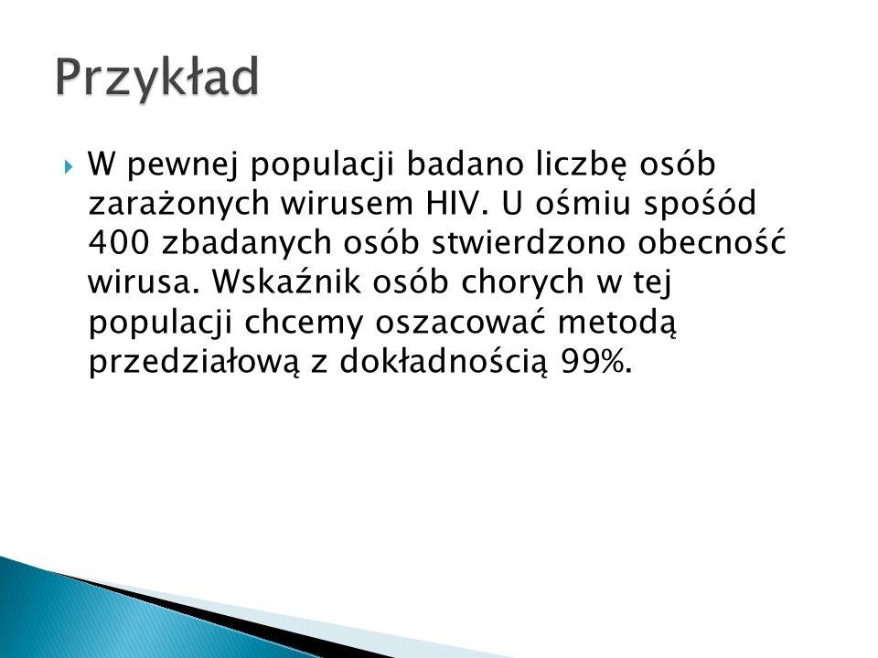 W pewnej populacji badano liczbę osób zarażonych wirusem HIV.