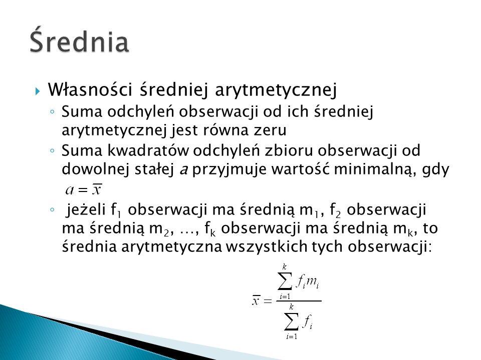 Średnia geometryczna Średnia harmoniczna