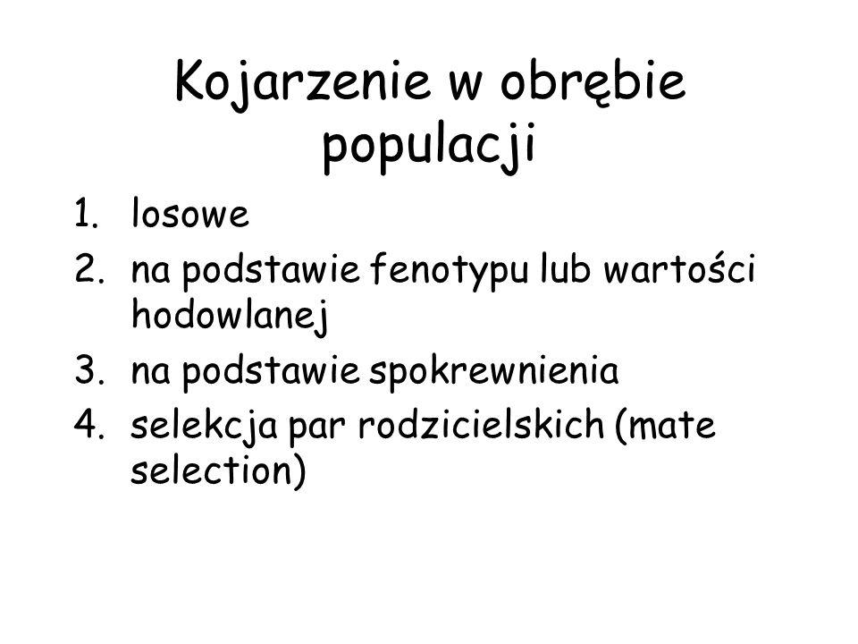 Kojarzenie w obrębie populacji 1.losowe 2.na podstawie fenotypu lub wartości hodowlanej 3.na podstawie spokrewnienia 4.selekcja par rodzicielskich (ma
