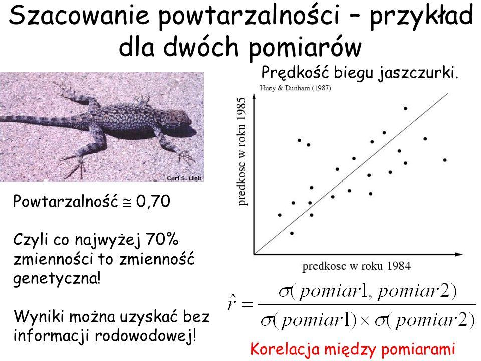 Szacowanie powtarzalności – przykład dla dwóch pomiarów Prędkość biegu jaszczurki. Powtarzalność 0,70 Czyli co najwyżej 70% zmienności to zmienność ge