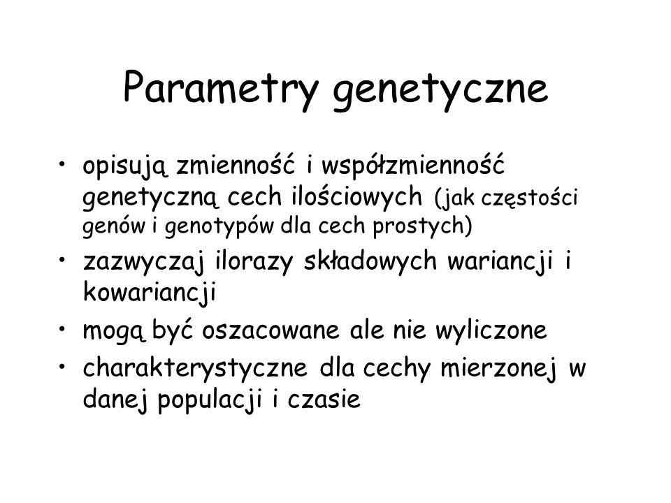 Najważniejsze parametry genetyczne Odziedziczalność (h 2 ) heritability –w szerszym sensie –w węższym sensie Powtarzalność (r - repeatability) Korelacja genetyczna