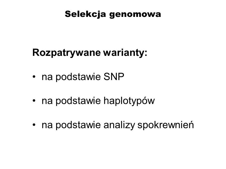 Selekcja genomowa Rozpatrywane warianty: na podstawie SNP na podstawie haplotypów na podstawie analizy spokrewnień