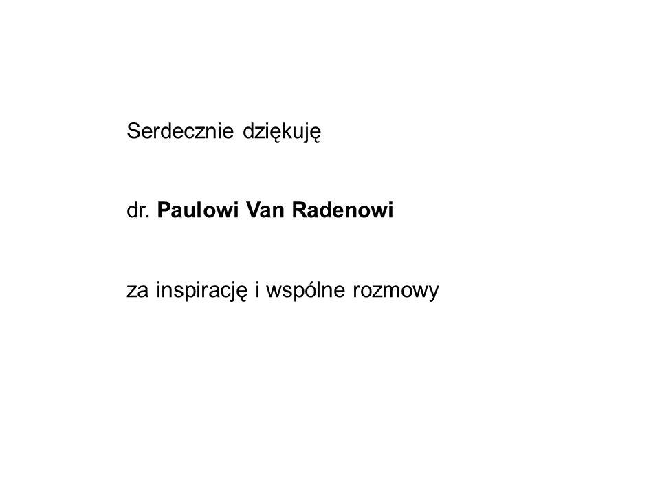 Serdecznie dziękuję dr. Paulowi Van Radenowi za inspirację i wspólne rozmowy