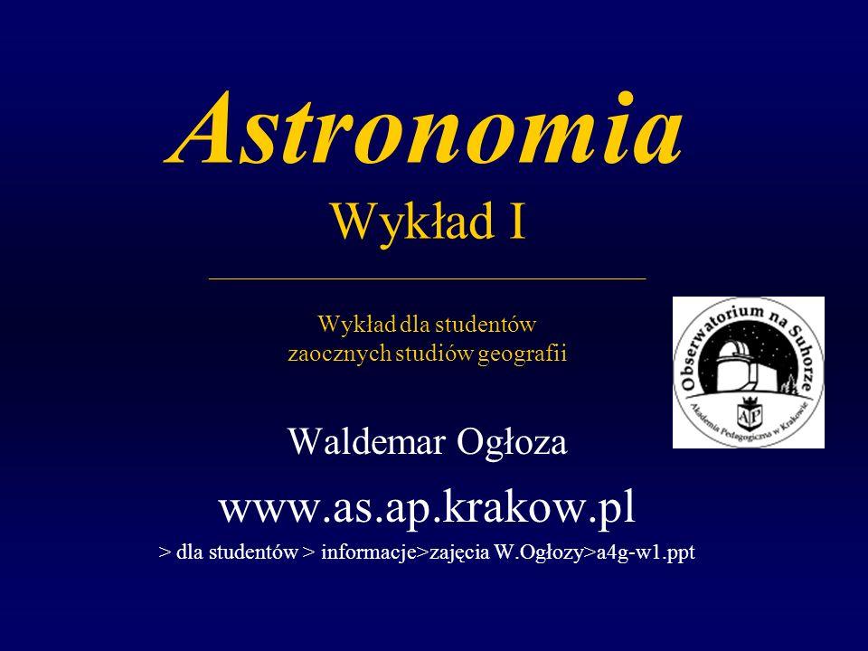 Astronomia Wykład I ____________________________________ Wykład dla studentów zaocznych studiów geografii Waldemar Ogłoza www.as.ap.krakow.pl > dla studentów > informacje>zajęcia W.Ogłozy>a4g-w1.ppt
