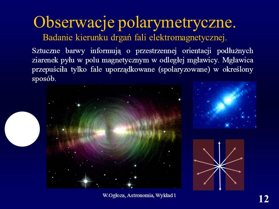 W.Ogłoza, Astronomia, Wykład 1 12 Obserwacje polarymetryczne.