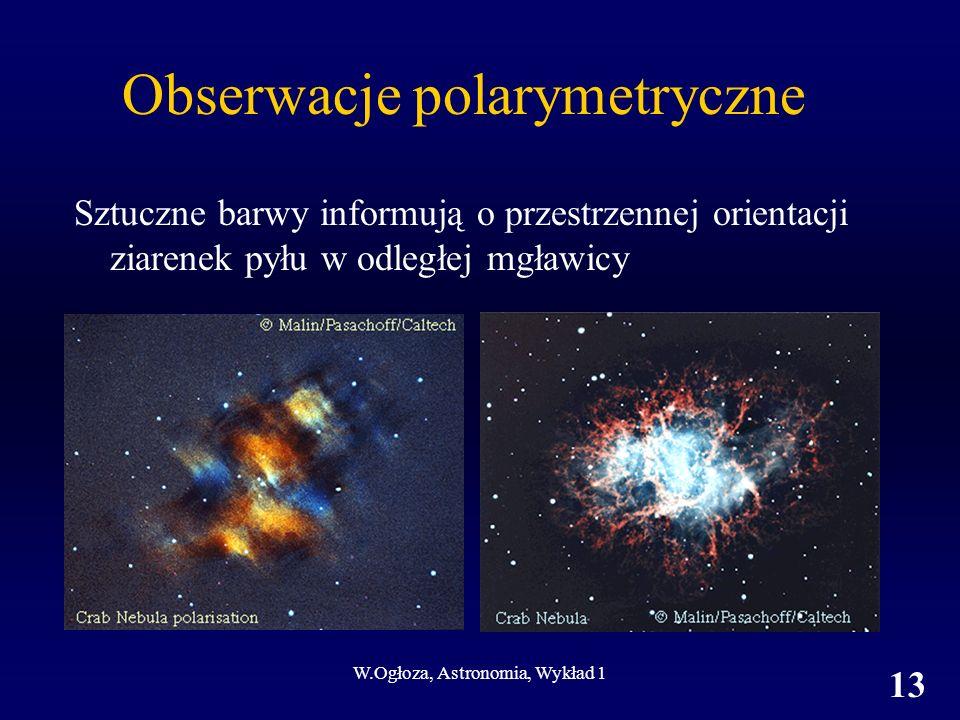 W.Ogłoza, Astronomia, Wykład 1 13 Obserwacje polarymetryczne Sztuczne barwy informują o przestrzennej orientacji ziarenek pyłu w odległej mgławicy