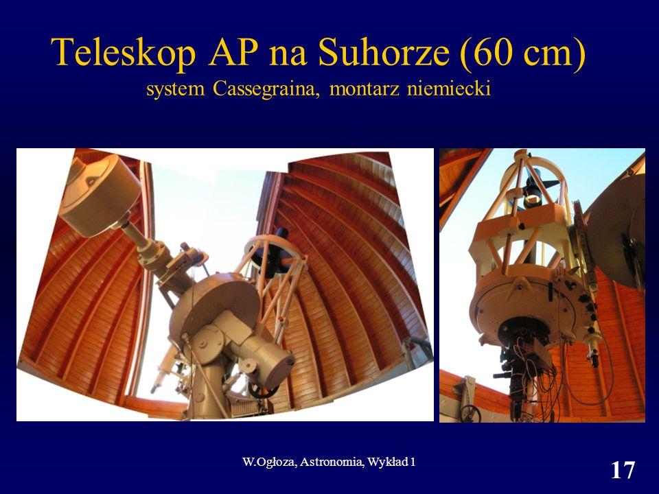 W.Ogłoza, Astronomia, Wykład 1 17 Teleskop AP na Suhorze (60 cm) system Cassegraina, montarz niemiecki