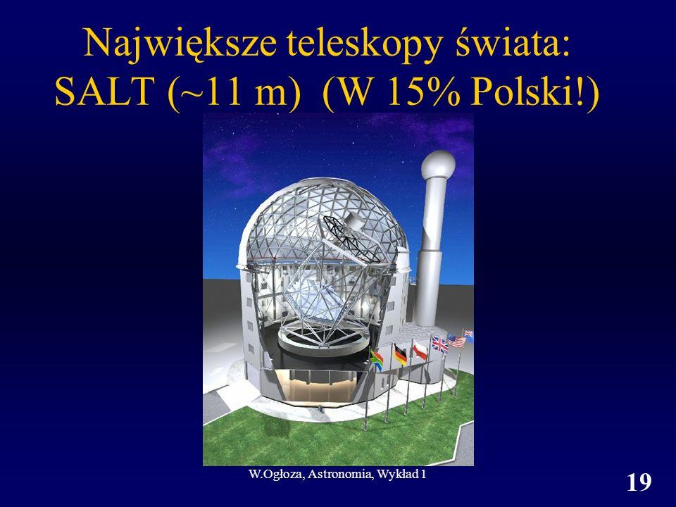W.Ogłoza, Astronomia, Wykład 1 19 Największe teleskopy świata: SALT (~11 m) (W 15% Polski!)