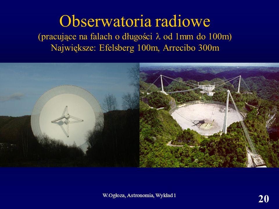 W.Ogłoza, Astronomia, Wykład 1 20 Obserwatoria radiowe (pracujące na falach o długości od 1mm do 100m) Największe: Efelsberg 100m, Arrecibo 300m