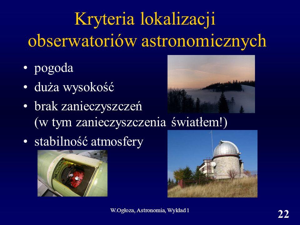 W.Ogłoza, Astronomia, Wykład 1 22 Kryteria lokalizacji obserwatoriów astronomicznych pogoda duża wysokość brak zanieczyszczeń (w tym zanieczyszczenia światłem!) stabilność atmosfery