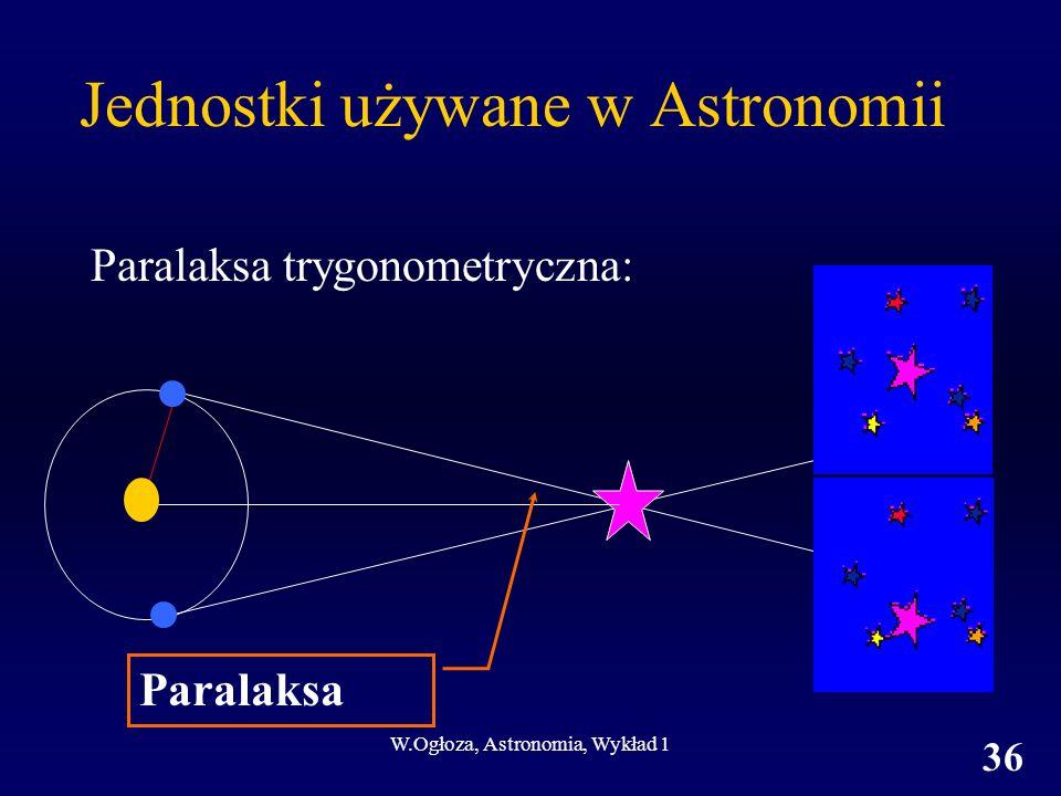 W.Ogłoza, Astronomia, Wykład 1 36 Jednostki używane w Astronomii Paralaksa trygonometryczna: Paralaksa