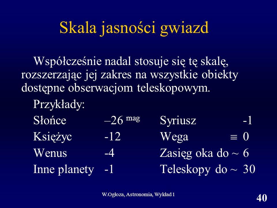 W.Ogłoza, Astronomia, Wykład 1 40 Skala jasności gwiazd Współcześnie nadal stosuje się tę skalę, rozszerzając jej zakres na wszystkie obiekty dostępne obserwacjom teleskopowym.