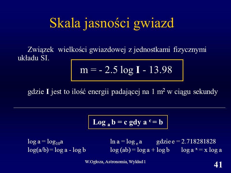 W.Ogłoza, Astronomia, Wykład 1 41 Skala jasności gwiazd Związek wielkości gwiazdowej z jednostkami fizycznymi układu SI.