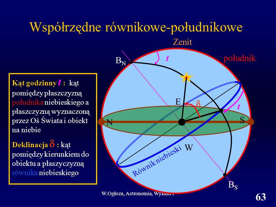 W.Ogłoza, Astronomia, Wykład 1 63 Kąt godzinny t : kąt pomiędzy płaszczyzną południka niebieskiego a płaszczyzną wyznaczoną przez Oś Świata i obiekt na niebie Deklinacja : kąt pomiędzy kierunkiem do obiektu a płaszyczyzną równika niebieskiego t BNBN E W S N t BSBS Współrzędne równikowe-południkowe Zenit południk Równik niebieski