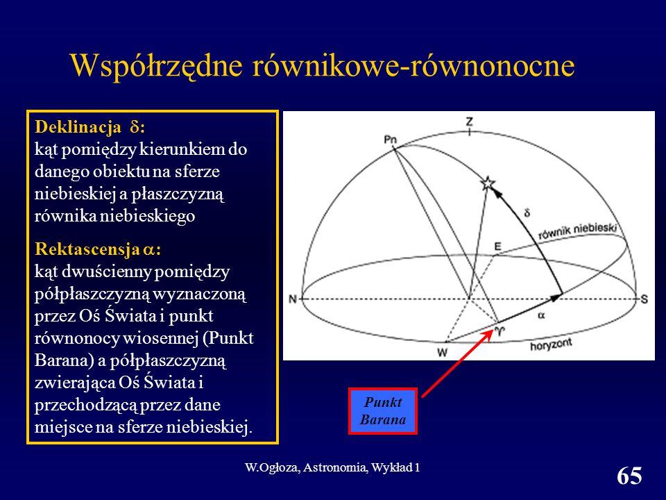 W.Ogłoza, Astronomia, Wykład 1 65 Współrzędne równikowe-równonocne Deklinacja : kąt pomiędzy kierunkiem do danego obiektu na sferze niebieskiej a płaszczyzną równika niebieskiego Rektascensja : kąt dwuścienny pomiędzy półpłaszczyzną wyznaczoną przez Oś Świata i punkt równonocy wiosennej (Punkt Barana) a półpłaszczyzną zwierająca Oś Świata i przechodzącą przez dane miejsce na sferze niebieskiej.