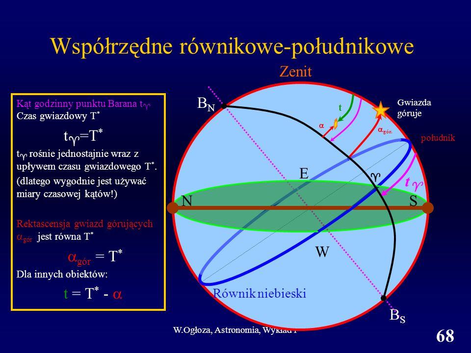 W.Ogłoza, Astronomia, Wykład 1 68 Kąt godzinny punktu Barana t Czas gwiazdowy T * t =T * t rośnie jednostajnie wraz z upływem czasu gwiazdowego T *.