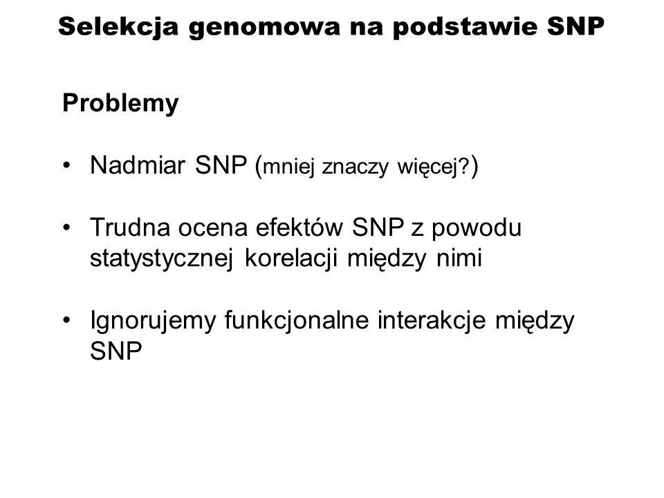Problemy Nadmiar SNP ( mniej znaczy więcej? ) Trudna ocena efektów SNP z powodu statystycznej korelacji między nimi Ignorujemy funkcjonalne interakcje
