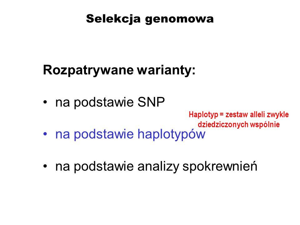 Selekcja genomowa Rozpatrywane warianty: na podstawie SNP na podstawie haplotypów na podstawie analizy spokrewnień Haplotyp = zestaw alleli zwykle dzi