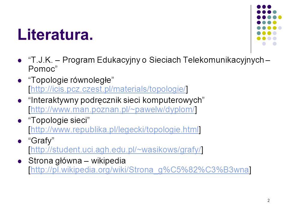 2 Literatura. T.J.K. – Program Edukacyjny o Sieciach Telekomunikacyjnych – Pomoc Topologie równoległe [http://icis.pcz.czest.pl/materials/topologie/]h