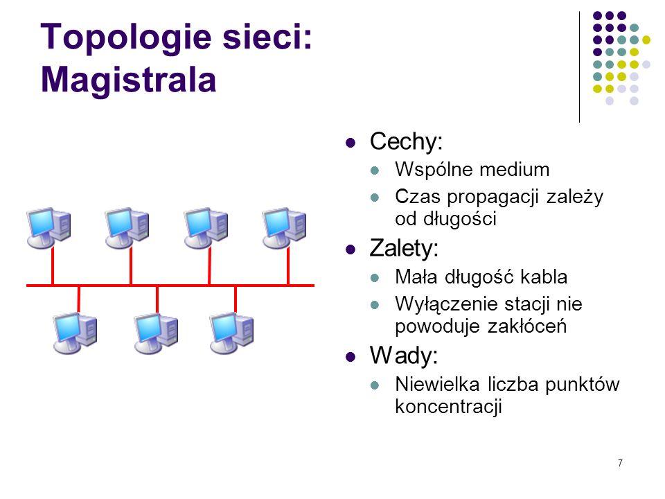 7 Topologie sieci: Magistrala Cechy: Wspólne medium Czas propagacji zależy od długości Zalety: Mała długość kabla Wyłączenie stacji nie powoduje zakłó